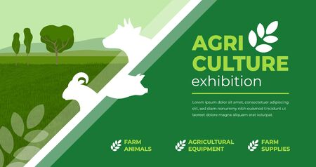 Design concept for agriculture exhibition, fair. Identity for farm animals show, livestock, agro conference. Vector illustration with sign of cow, pig, ram. Template for flyer, poster, banner, ticket