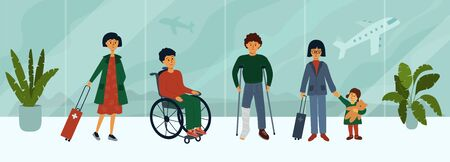Medical tourism concept. Group of people at airport waiting for flight for treatment abroad. Departure hall, passengers standing in queue. Patients going to hospital. Vector illustration of insurance.