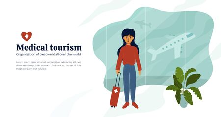 Medical tourism or insurance concept. Cute girl with luggage at airport waiting for flight for treatment abroad. Young woman standing in departure hall. Vector illustration for web page, layout, flyer