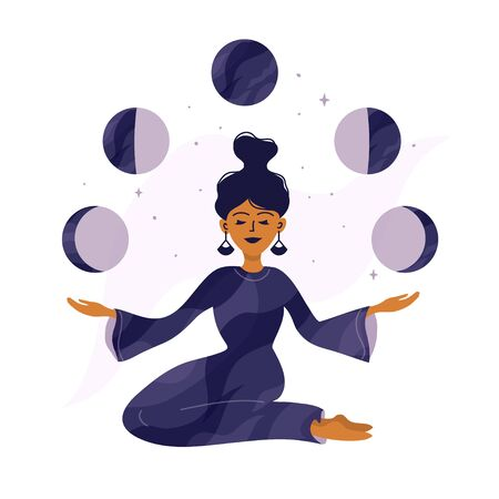 Cute girl holding moon phases in hands. Modern witch, spirituality concept. Magic woman, witchcraft and mystery. Cycle from new to full moon. Vector illustration of tarot card cover, poster, postcard.