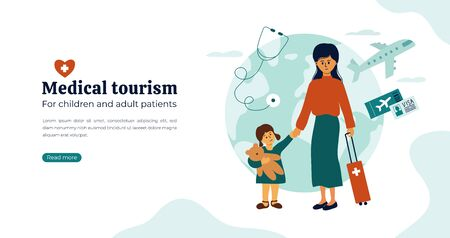 Organization of medical tourism and treatment all over the world for children and adult patients. Mother and daughter waiting for departure to hospital abroad. Vector illustration for flyer, web page.
