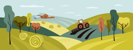 Harvest in countryside with tractor, hay field and haystack rolls. Horizontal illustration of autumn nature, agriculture and landscape. Vector background farm land for banner, flyer, brochure, cover.