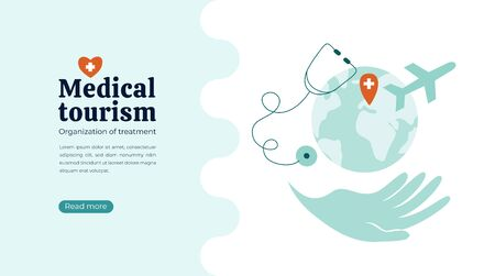 Organization of medical tourism, treatment all over the world. Vector illustration of helping hand with Earth and airplane. Globe and stethoscope on white background. Layout, flyer, web page concept.