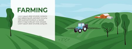 Agricultural fields with irrigation tractor. Spraying or watering in agriculture. Vector illustrations with farming landscape and tractor pours fertilizer. Template for banner, flyer, layout, advert.