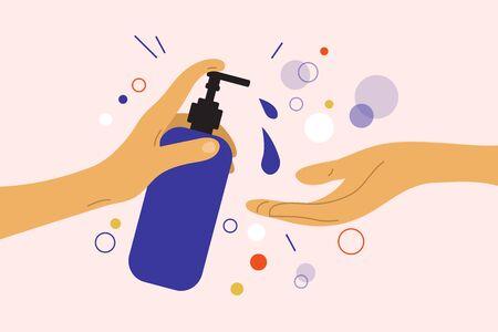 Disinfection or virus protection. Human hand holds dispenser with sanitizer antibacterial gel. Liquid soap bottle. Wash your hands concept. Prevent infection, coronavirus bacteria. Vector illustration Standard-Bild - 143397125