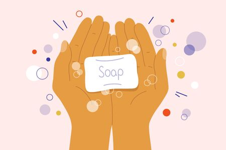 Wash your hands concept. Disinfection, antibacterial, virus protection. Human palms holding soap with bubbles. Sanitizer, antiseptic, prevent infection, coronavirus bacteria. Vector illustration flyer Standard-Bild - 143397145