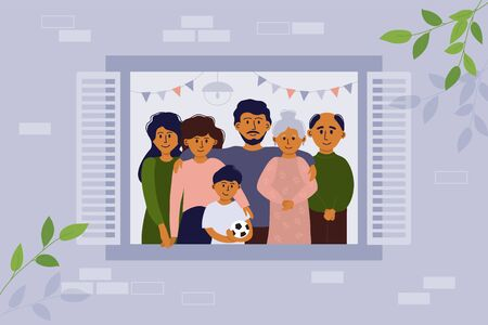 Stay home concept. House facade. Vector illustration of big family looking out of window. Seniors and young people stay together. Parents, children, grandmother and grandfather. Coronavirus quarantine