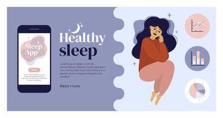 Concept de sommeil sain. Jeune femme et beaux rêves. Suivi du sommeil, application de diagnostic avec analyse, graphique des étapes, diagramme. Écran de téléphone portable. Modèle de conception avec pose de sommeil pour flyer, mise en page Vecteurs