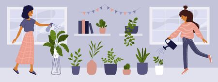 Care of houseplants, home gardening, urban jungle. Cute smiling girls with watering can caring of home garden, spraying leaves. Collection of potted plants. Vector illustration of cozy interior, decor