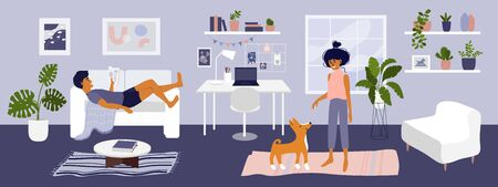 Stay at home vector illustration. Young couple spending time in living room, man reading book, cute girl playing with dog. Card cozy modern apartment interior with houseplants. Coronavirus quarantine