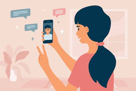Video call between friends. Cute girl holding smartphone, smiling and greeting boy on device screen. Stay at home, meeting and chatting online by mobile app. Distance conversation. Vector illustration