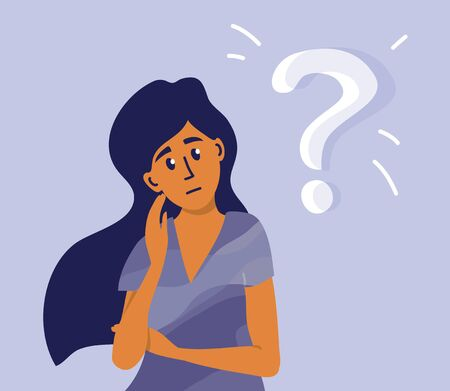 Young pensive woman making decision looking at question mark. Worried girl thinking about life problem, doing difficult choice, deep in thought. Concept of thoughtful lady. Cartoon vector illustration