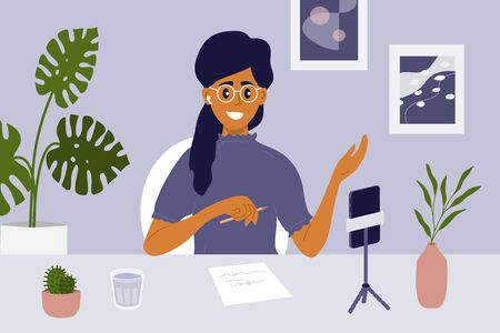 Blogger live streaming concept. Cute girl making video content to vlog, talking to blog audience. Woman vlogger online interview. Recording podcast, broadcast, social media network vector illustration
