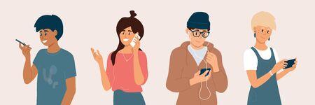 Grupo de jóvenes que utilizan teléfonos inteligentes. Hombres y mujeres chateando en línea, haciendo videollamadas, escuchando música con auriculares, hablando, revisando las redes sociales. Ilustración de vector de tecnología de internet móvil. Ilustración de vector