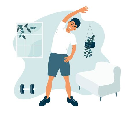 Stay home, keep fit and positive. Man doing side bends, stretching. Sport exercise, fitness workout. Physical activity, healthy lifestyle concept. Quarantine lockdown. Gym at home vector illustration.