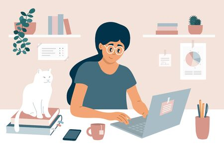 Working at home office. Young woman sitting behind work table, chatting online with colleagues using laptop. E-learning, studying or education concept. Freelance girl and white cat vector illustration Vettoriali