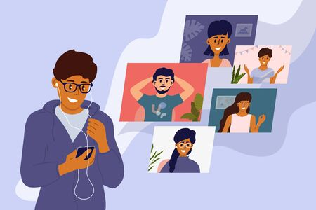 Video call with friends. Online conference, virtual meeting with colleagues. Young man in earphones talking to boys and girls through smartphone screen. Staying home. Social media vector illustration.