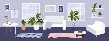 Cozy interior of modern apartment with houseplants. Living room with big windows furnished white furniture. Scandinavian style home decor. Trendy carpet, comfy sofa, decorations. Vector illustration. Ilustração
