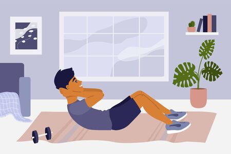 Stay home, keep fit and positive. Young man doing abdominal crunch. Sport exercise, fitness workout. Physical activity, healthy lifestyle concept. Quarantine lockdown. Gym at home vector illustration.