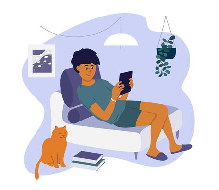 Stay at home. Young man sitting on sofa, reading book, watching movie online or browsing social media by tablet. Boy and cat relaxing in cozy room. Quarantine lockdown. Lifestyle vector illustration.