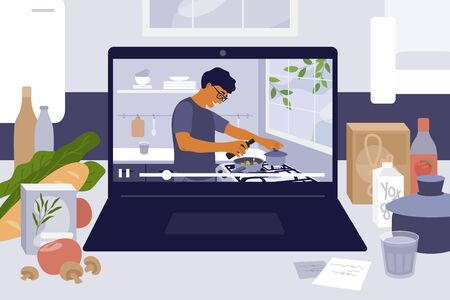 Laptop on kitchen table with cooking online master class. Culinary video blog, show with man preparing homemade meal. Stay home cook healthy food by recipe. Coronavirus quarantine. Vector illustration Ilustração