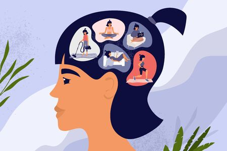 Female thoughts or brain, pensive woman concept. Cute girl stay home and choosing leisure activity. Reading, work, meditation, sport workout, housework routine, cleaning. Lifestyle vector illustration