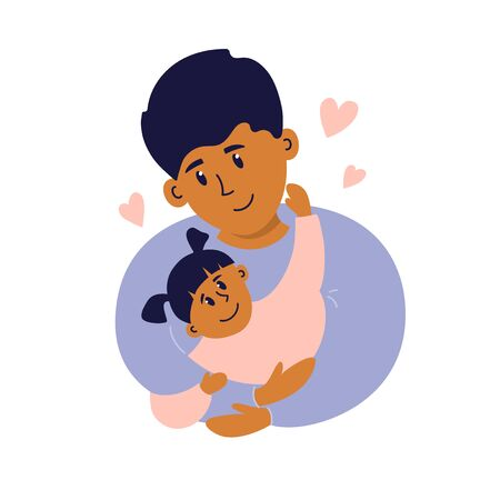 Happy fatherhood vector illustration. Young man with baby girl daughter in his arms. Smiling dad playing, carrying child with care and love. Father's day card. Characters isolated on white background