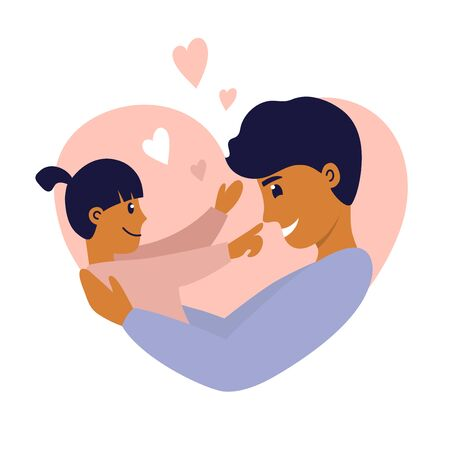 Happy father's day, fatherhood. Young man with daughter in his arms. Smiling dad playing with little kid. Daddy holding baby girl with care and love. Parent and child. Heart shaped vector illustration Ilustração