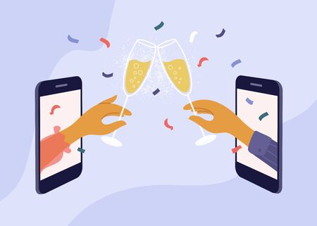 Couple celebrate birthday or holiday event remote by internet. Meeting friends at online quarantine party. Female and male hands clink champagne glasses through smartphone screen. Vector illustration.