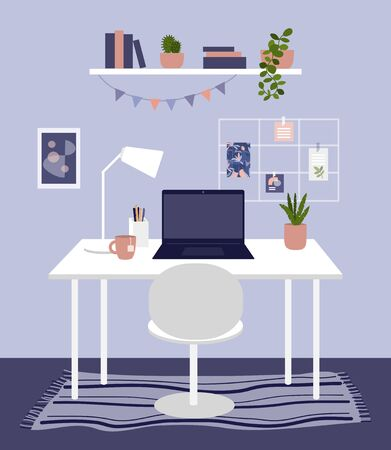 Home office concept. Comfy workplace with houseplants, carpet, book shelf, garland. Work table with laptop, mood board and lamp. Domestic room, modern cabinet, cozy home interior vector illustration. Ilustração