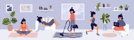 Young woman spending time at home. Cute girl choosing leisure activities. Reading, work on laptop, meditation yoga, sport workout, housework routine, cleaning. Lifestyle quarantine vector illustration