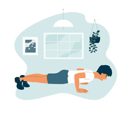 Stay home, keep fit and positive. Smiling man doing push ups. Sport, fitness workout. Physical activity, healthy lifestyle concept. Quarantine isolation. Exercises, gym at home vector illustration.