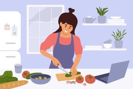 Cook healthy food at home. Cute girl cooking homemade meals in kitchen. Young woman watching culinary video blog or master class on laptop and cutting salad ingredients by recipe. Vector illustration.