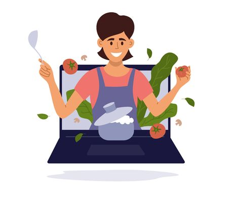 Smiling woman with kitchen utensils look out of laptop screen. Girl vlogger preparing healthy food online. Blog or show with cooking master class. Culinary video broadcast, channel vector illustration Ilustração
