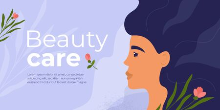 Layout design template for beauty care salon, clinic, cosmetic. Profile of pretty woman with long hair. Banner with female face, flowers and botanical background. Skin care trendy vector illustration Ilustração
