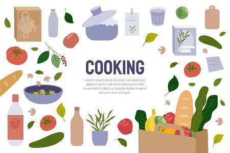 Poster design template of Cooking. Flyer with food items, meal ingredients. Banner for culinary blog, classes, cuisine channel, menu. Kitchen utensils isolated on white background. Vector illustration