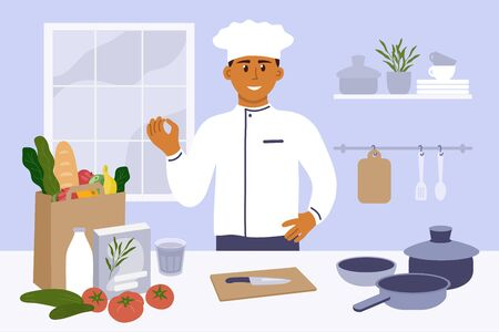 Man in kitchen preparing to cooking homemade meal. Young chef in uniform showing gesture delicious. Vegetable, knife, utensils, pack with food on table. Vector illustration for culinary blog, classes