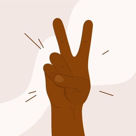 Victory gesture. Dark skinned male or female showing V sign. Black lives matter. African American man or woman making symbol with two fingers. End racism poster. Human hand concept vector illustration