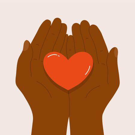 Black lives matter. Dark skinned male or female holding heart shape in palm. Justice for black people. Hands of African American man or woman. End racism, equality poster. Concept vector illustration Ilustração