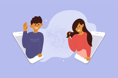 Dating app concept. Woman and man looking out of smartphone screen and flirting. Male and female searching for romantic partner in internet. Online video call. Fall in virtual love vector illustration