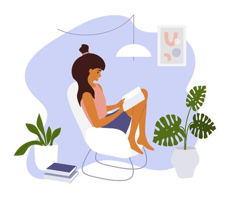 Stay at home. Young woman sitting on armchair with open book. Girl relaxing and reading in cozy modern apartment interior. Leisure, hobby, education or studying concept. Lifestyle vector illustration