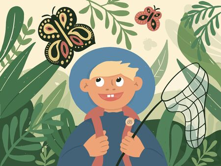 Summer time in nature, outdoor activity. Little boy with backpack and scoop catches butterflies in high grass. Funny child exploring, watching for beautiful moth. Young naturalist vector illustration. Ilustração