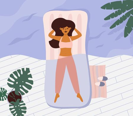 Quarantine summer at home 2020. Young woman sleeps lying on bed, dreaming of holiday travel. Girl imagines herself on sea. Indoor recreation vs outdoor leisure. Waiting for summer vector illustration Ilustração