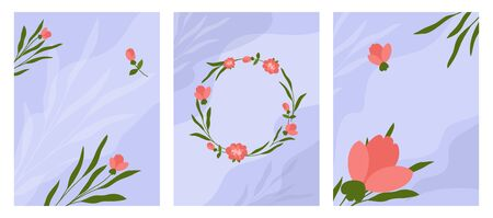 Set of floral backgrounds for wedding invitation, birthday greeting cards with frame and copy space. Decorative posters with flowers and plant leaves. Botanical design postcards. Vector illustration.
