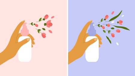 Flower aerosol, perfume, cosmetics concept. Female hand holding dispenser and spraying with petals, buds, leaves. Nature aroma, fragrance. Flower body water, beauty care. Banners, vector illustration