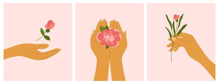 Set of cards with female hands holding flowers. Banners with decorative elements on pink background, blooming rose or peony. Elegant floral posters with buds and branch of flower. Vector illustration
