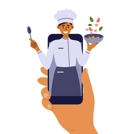 Cooking classes on mobile phone. Smiling woman preparing healthy food online. Culinary blog with recipe of vegetable salad. Human hand holding smartphone with young chef on screen. Vector illustration Ilustração