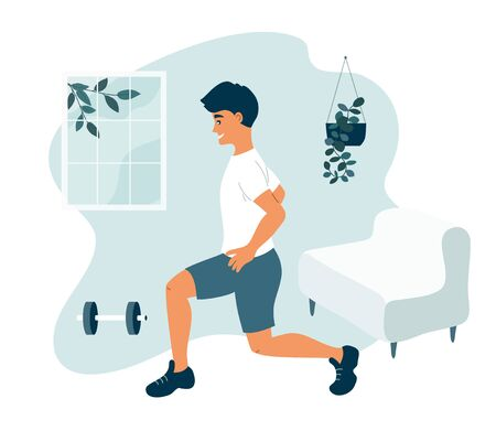 Stay home, keep fit and positive. Man in sport clothes doing lunges. Exercises fitness workout. Physical activity, healthy lifestyle concept. Quarantine self isolation. Gym at home vector illustration