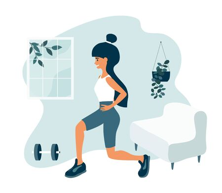 Sport and physical activities at home. Healthy lifestyle, fitness training concept. Happy young athletic woman doing lunge exercises in apartment room. Active people, home workout vector illustration
