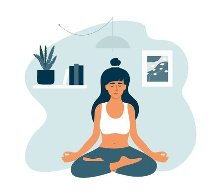 Young woman in lotus position meditating at home. Girl in crossed legs pose relaxing sitting on floor apartment room. Female practice yoga, mindfulness. Healthy lifestyle, wellness vector illustration Ilustração